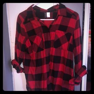 Black and red plaid button down